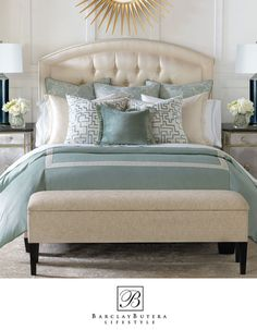 Paris Upholstered Bed & Upholsterd Frankfort Bench paired with Barclay Butera's Central Park Collection