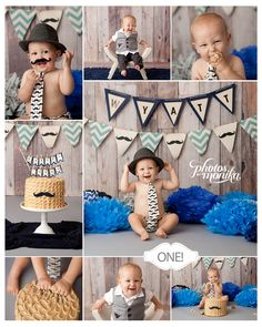 Little Man, Mustache themed cake smash. First birthday, one year cake smash by Manhattan Beach based photographer, Photos By Monika