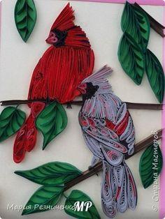 Картина панно рисунок Квиллинг кардиналы Бумага