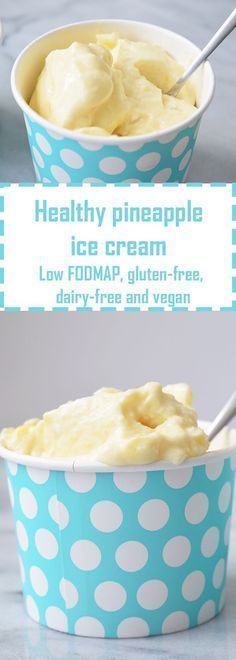 Healthy Pineapple Ice Cream (Low FODMAP, gluten-free, dairy-free and vegan) Perfect treat for summer! Paleo Dessert, Gluten Free Desserts, Dairy Free Recipes, Healthy Desserts, Dessert Recipes, Cookie Recipes, Vegan Recipes, Vegan Sweets, Healthy Sweets