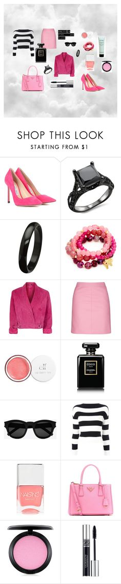 """Pretty in Pink....and Black"" by retrosam76 ❤ liked on Polyvore featuring Jimmy Choo, Good Charma, Topshop, Chanel, Yves Saint Laurent, Boutique Moschino, Nails Inc., Prada, MAC Cosmetics and Christian Dior"