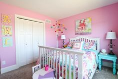Arabella's Colorful Little Girl Room - Arie + Co. Pink Bedroom Walls, Girls Bedroom Wall Color, Girls Room Paint Colors, Classic Furniture Living Room, Girl Decor, Little Girl Beds, Pink Bedroom For Girls, Room Wall Colors, Kid Room Decor
