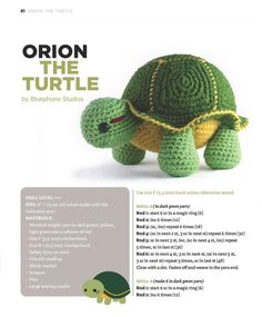 Orion the Turtle by Bluephone Studios. Part/Photo 1 of Crochet Turtle Pattern, Crochet Doll Pattern, Crochet Dolls, Crochet Gratis, Crochet Amigurumi Free Patterns, Free Crochet, Crochet Sea Creatures, Crochet Animals, Crochet For Kids