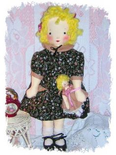 Tea Time EFA Doll | Flickr - Photo Sharing! Rag Dolls, Fabric Dolls, Doll Clothes Patterns, Doll Patterns, Challenge Ideas, Doll Dresses, Doll Maker, Handmade Dolls, Soft Dolls