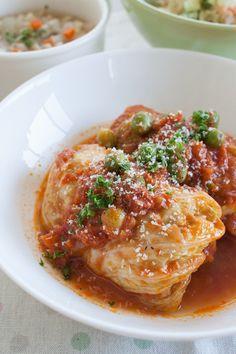 チーズinロールキャベツ トマト煮込み