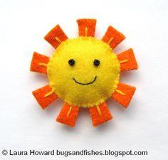 Bugs e peixes por Lupin: How To: Faça um Mini Felt Sun