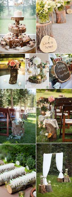 creative tree stump wedding ideas #BohoWeddingIdeas