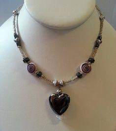 Hematite Heart Pendant Necklace by GracefulServices on Etsy, $23.00  www.etsy.com/shop/graceware