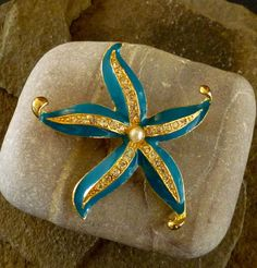 Vintage Starfish Brooch Blue Enamel with by MaisonChantalMichael, $32.00