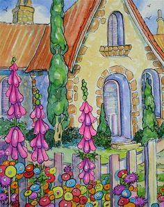 A Welcome Garden Storybook Cottage Series Alida Akers Watercolor Landscape, Watercolor Art, Storybook Cottage, Woodlands Cottage, Painting Inspiration, Home Art, Painting & Drawing, Fantasy Art, Art Journals