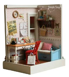 Miniature Dollhouse DIY Kit Country Living Memory Room with Light  Cute Room House Mode by SimpleSmart on Etsy https://www.etsy.com/listing/230117718/miniature-dollhouse-diy-kit-country