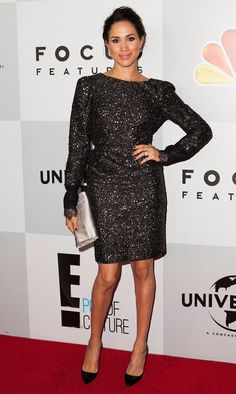 At the NBC Universal's 70th Golden Globes After Party, Markle wore a sparkly dress.