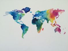 This beautiful hand painted watercolor map reflects the colorful diversity of the world. It is a painting on an 11x14 canvas board, and all