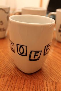 Scrabble tile coffee