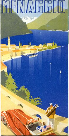 Menaggio , Lago di Como Italia . Vintage travel beach poster www.varaldocosmetica.it/en the olive oil cosmetics from the Riviera .