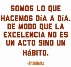 Somos lo que hacemos día a día. De modo que la excelencia no es un acto sino un hábito. (Aristóteles) #motivacion #exito