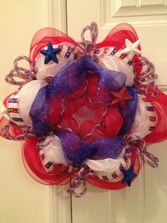 Red White and Blue Patriotic Deco Mesh Wreath by DecoMeshFrenzy, $30.00