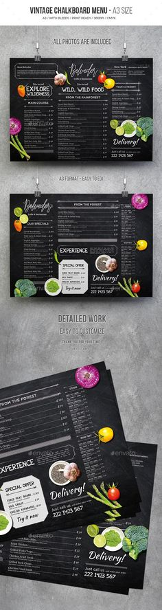 Vintage Chalkboard Menu — Photoshop PSD #menu design #rustic menu • Download ➝ https://graphicriver.net/item/vintage-chalkboard-menu/19614650?ref=pxcr