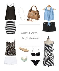 What I Packed - Phuket, Thailand. Phuket Thailand, Thailand Travel, Travel Wardrobe, Capsule Wardrobe, Thailand Outfit, Thailand Adventure, Stripe Skirt, Holiday Outfits, Travel Style