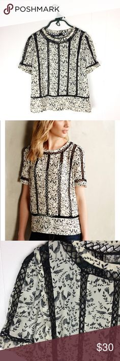 """Meadow Rue Fasion Bird Print Lace Blouse Top // S Anthropologie Fasion bird print top. Cream and black. Button down back. Very good condition. 100% polyester. Size small. Apx 23"""" shoulder to bottom hem. 20 1/2"""" underarm to underarm. Anthropologie Tops Blouses"""