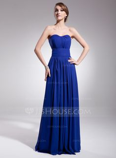 A-Line/Princess Sweetheart Floor-Length Ruffle Zipper Up Strapless Sleeveless Royal Blue Winter Spring Summer Fall General Plus Chiffon Evening Dress