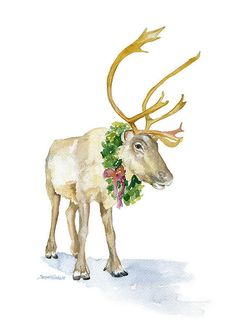 Hey, I found this really awesome Etsy listing at https://www.etsy.com/listing/213572576/reindeer-watercolor-painting-8-x-10
