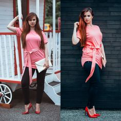 Pink AVON shirt, red heels, curvy pear shaped body. Curvy blogger
