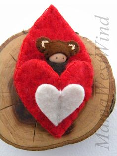 Waldorf Bear in Heart Pouch, Valentine Doll, Small Baby Peg Doll, red, white, brown, wool, cashmere, wood, eco toy