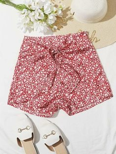 ((Affiliate Link)) Description Style:	Boho Color:	Red and White Pattern Type:	Ditsy Floral Details:	Belted Type:	Wide Leg Season:	Summer Composition:	95% Polyester, 5% Spandex Material:	Polyester Fabric:	Slight Stretch Sheer:	No Fit Type:	Loose Waist Type:	Mid Waist Belt:	Yes