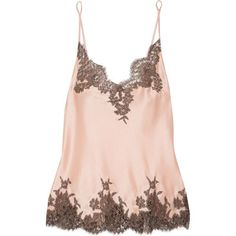 I.D. Sarrieri Hôtel Particulier Chantilly lace-trimmed silk-blend... (594 AUD) ❤ liked on Polyvore featuring intimates, camis, blush, satin camisole, lace trim camisole, satin cami and lace trim cami
