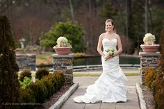 Duke Gardens bridal portrait in the white garden