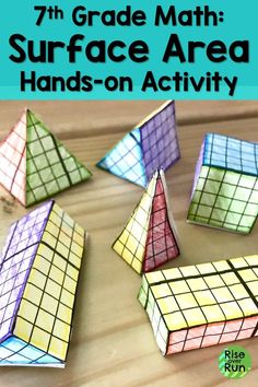 I wanted to make surface area and volume hands-on for students. This project is a great way to build conceptual understanding and make geometry make sense in grade. Student draw nets, create figures, then calculate surface area and volume. Geometry Activities, Fun Math Activities, Math Resources, Math Classroom, Classroom Ideas, Future Classroom, Math Groups, 3d Figures, Student Drawing