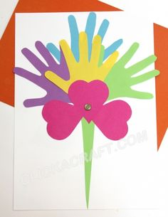 Handprint Paper Bouquet - Click on image to see step-by-step tutorial.
