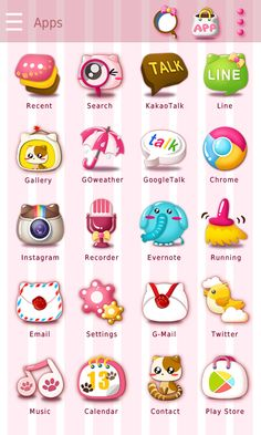 Pinky Cat GO Launcher Theme- screenshot Android Smartphone, Android Apps, App Drawer, Phone Icon, Evernote, App Icon, New Theme, Icon Design, Calendar
