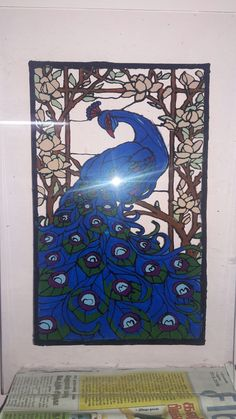 """Peacock... Acrylic glass paint...  With frame rs..  900 Email. priyakumar2220@gmail. Com   Size 12""""* 10"""""""