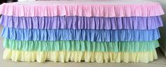 Pastel Ruffled Tablecloth. Baby Shower Decor