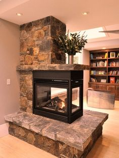 12 Interesting Peninsula Gas Fireplace Photo Idea-just the stone shelf above fireplace-  all the way to the wall