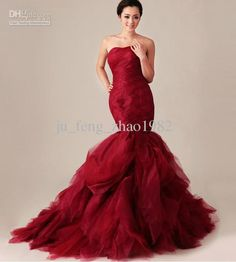 Wholesale Strapless Ruffled Red Mermaid Wedding Dresses 2013 New Pageant Formal Prom Evening Bridal Gowns long, Free shipping, $250.0/Piece | DHgate