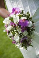 Kort Druppelvormig Boeket Van Rozen, Calla's, Orchideeen #WTBKT008
