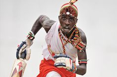 A member of the Maasai Warriors cricket team, during practice in Mombasa, on March 5, 2012. (Carl De Souza/AFP/Getty Images)