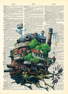 Howls Moving Castle Studio Ghibli Print on an by AvantPrint,