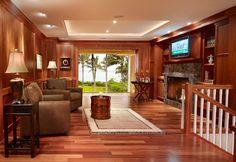 living room - LIGHT! Love the deep red woods.