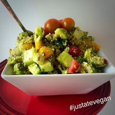 Avocado, cucumber, mixed pepper and sesame seed salad topped with cherry tomatoes this afternoon  #salad #raw #organic #healthy #vegan #vegangram #veganshare #green #vegansofig #vegetarian #glutenfree #dairyfree  #healthyeating #healthyliving #eatwell #eathealthy #eatcolourful #cleaneats #plantbased  #fitspo #fitfood #fitfam #foodporn #whatveganseat #fitness #instafit #nutritious #food #justatevegan