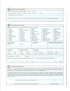 Free Printable Massage Intake Forms | Custom Massage Therapy ...