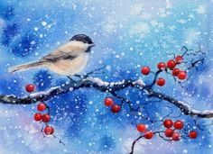 CHICKADEE 10 watercolor bird painting, painting by artist Barbara Fox Mais Watercolor Bird, Watercolor Animals, Watercolor Paintings, Original Paintings, Watercolors, Bird Paintings, Christmas Paintings, Christmas Art, Christmas Landscape