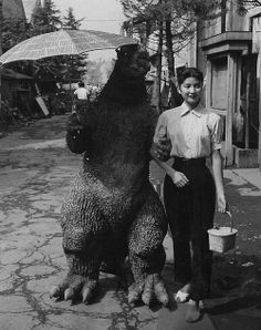 Godzilla with leading lady Momoko Kochi 1954.   #Godzilla