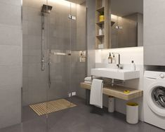 Polish ceramic tiles manufacturer for kitchen, bathroom, outdoor and Wall And Floor Tiles, Stair Treads, Bathroom Colors, Minimalist Design, Industrial Style, Double Vanity, Brown And Grey, Modern Interior, Mirror