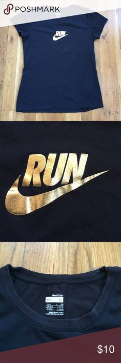 """Nike """"run"""" swoosh tshirt Black NikeFIT DRY tshirt with gold """"RUN"""" print with swoosh. Great workout tshirt. 60% cotton, 40% polyester. Pre loved, good condition. Little bit of wear around the neck but still looks great (pictured). Nike Tops Tees - Short Sleeve"""