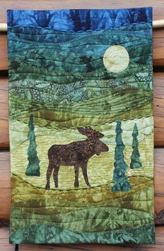 """Moonlight Moose"" wall hanging kit, coming soon..""like"" On The Trail Creations facebook page to see when it comes out"