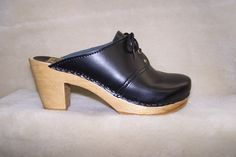 """Tie Clog - Black Leather - 3"""" High Heel - Size 40 - Closeout"""
